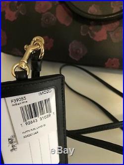 COACH F38985 Womens LAPTOP BAG Crossbody Handbag FLORAL Leather And ID Card Set