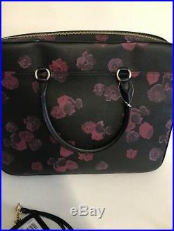 COACH F38985 Womens Work LAPTOP Leather BAG Handbag FLORAL ID Card Set Black