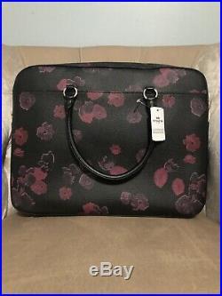 COACH F38985 Womens Work Office LAPTOP Leather BAG Handbag Purse FLORAL Black