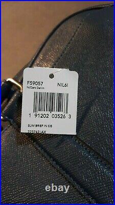 COACH HUDSON Briefcase Metropolitan Business Laptop Dark Denim Tablet F59057