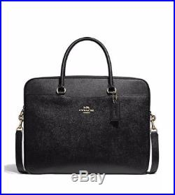 COACH LAPTOP BAG WOMAN'S LEATHER CROSSBODY Black/Gold NWT F39022 MSRP$395