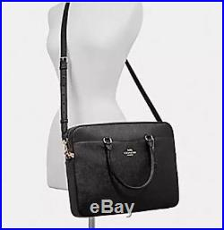 COACH LAPTOP BAG WOMAN'S LEATHER CROSSBODY Black/Gold NWT F39022 MSRP $395