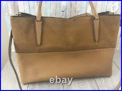 COACH Large Soft Borough Bag in Tan Leather & Suede HONEY Laptop/Tote/Diapers
