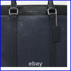 COACH Perry Metropolitan Business Tote Leather Duffle Blue Black F54758 Laptop