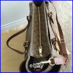 COACH Signature Multifunction Tote Baby Diaper Bag Laptop Brown Saddle Khaki NWT