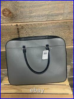 COACH Silver Heather Gray Colorblock Leather Laptop Bag Style F85709 NWT Work