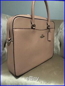 COACH Womens CROSSGRAIN LEATHER LAPTOP BAG PORTFOLIO BRIEFCASE F39022 Petal New