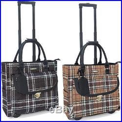 Cabrelli Petra Plaid Womens Rolling Laptop Briefcase Wheeled Case Bag 717017U