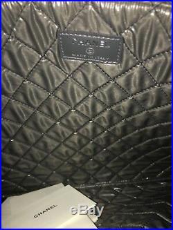 Chanel 2017 Toile Black Sequins CC Deauville Laptop Clutch Bag New