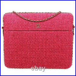 Chanel Pink Tweed Large Crossbody Bag Rare CC Laptop iPad Chain Around Flap