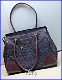 Chelsey Henry Bags Women's Black Brown Nylon Leather Hand Laptop Tote Purse Bag