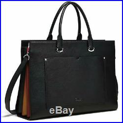 Cluci Briefcase For Women Leather Slim 15.6 Inch Laptop Business Shoulder Bag Bl