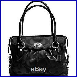 Coach Addison Spectator Black Sateen Signature C Laptop Business Tote Bag Purse