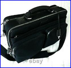 Coach Black Canvas Transatlantic Laptop Messenger Organizer Briefcase Bag 6409