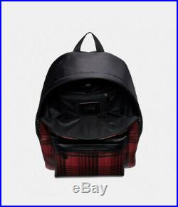 Coach Charles Men Woman Unisex Laptop Travel Backpack Black Twill Plaid Print