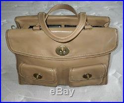 Coach Hamptons CAMEL TAN Leather Legacy Laptop Travel Briefcase Business Bag WOW