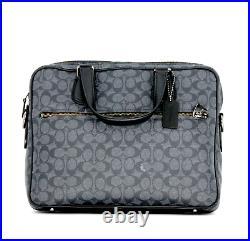 Coach Hudson 5 in Signature Coated Canvas Black Charcoal Laptop Bag Zip Closure