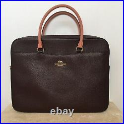Coach Laptop Bag Briefcase F34822 Dark Brown Crossgrain Leather MSRP $450
