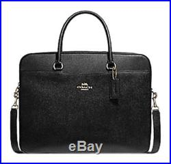 Coach Laptop Bag Womans Leather Black/Gold F39022 MSRP $450