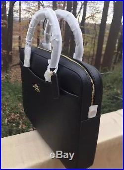 ba3abbffbf0 Coach Laptop Bag Womans Leather Black Gold NWT F39022 MSRP 395 ...