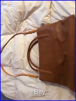 Coach Laptop Career Women Sachel Bag Leather Taupe, 17L x 7W x 12H