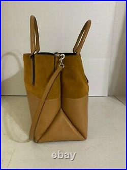 Coach Large Borough Bag Honey Suede Leather Laptop 32295 RARE