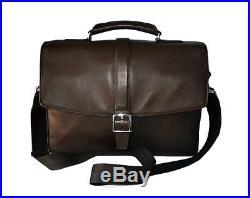 Coach Men's Mahogany Brown Leather Lexington Flap Laptop Business Briefcase Bag