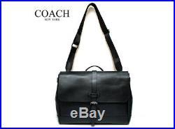 Coach Mens F23204 Hudson Messenger Bag tote satchel laptop In black Leather