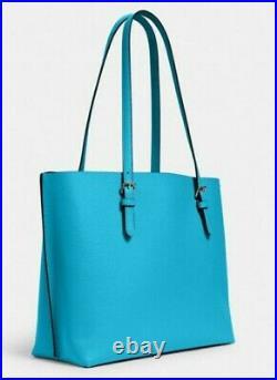 Coach Mollie Large Tote Purse Laptop Bag Aqua Blue Green Leather NWT $378