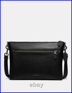 Coach Nwt $450 Graham Soft Messenger Bag Black Leather Laptop