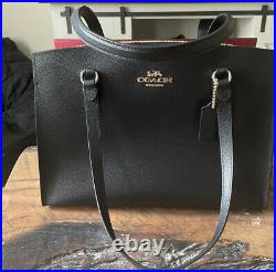 Coach Tatum Large Leather Carryall Tote Laptop Bag Black & Red NWT