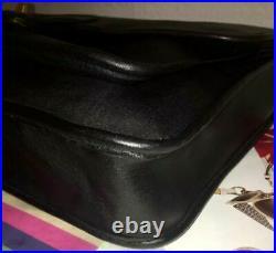 Coach USA New York Metropolitan Laptop Briefcase Black Glove Tan Leather