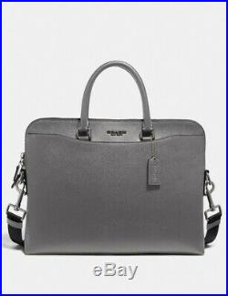 Coach Womens Leather Gray Beckett Portfolio Brief Briefcase Business Bag Laptop