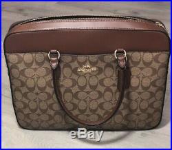 Coach Womens Signature Canvas Khaki/Saddle Laptop Briefcase Bag