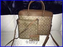 Coach Womens Signature Canvas Khaki/Saddle Laptop Briefcase Bag F39023