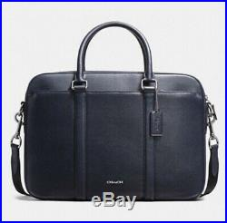 Coach Zip Zop Signature Laptop Bag- Navy