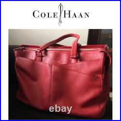 Cole Haan Womens Leather Business Brief Tote Laptop Bag