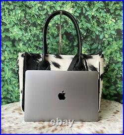 Cowhide Tote Purse Handbag Calf Leather Shoulder Laptop Bag Womens Black White