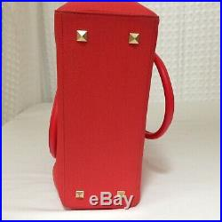 Dagne Dover Womens Leather Classic Purse Tote Laptop Bag 12 x 11 Red