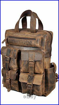 Devil Hunter 18 Leather Backpack for men / women Brown Leather Laptop Backpack