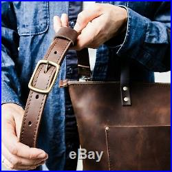 Distressed Leather brown women Laptop zipper travel Messenger Shoulder Tote bag