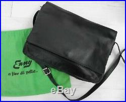 ENNY genuine LEATHER BLACK laptop bag Cross Body strap real mens womens attache