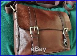 Fossil Leather Business Laptop Messenger Cross Body Satchel Bag for Men or Women