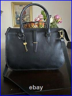 Fossil Ryder Leather Work Bag Satchel Black Large For Laptop
