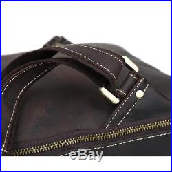 Genuine Leather 14'' Laptop Men Backpack Shoulder Bag Satchel Travel School Bag