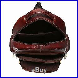 Genuine Leather Backpack 15.6 Inch Laptop Bag for Men Women