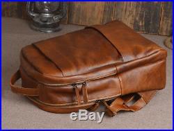 Genuine Tanned Leather Backpack Vintage Travel School Laptop Bag for Men Women