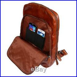 Herren Damen Echt Leder Rucksack RFID NFC Schutz Laptoprucksack Uni Arbeit Braun