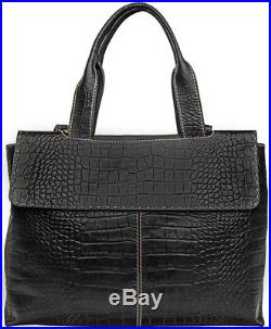 Hidesign Women's Leather Laptop Work Bag Handbag Purse Black