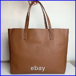 J. CREW NWT LARGE CARRYALL TOTE PEBBLED LEATHER Warm Sepia LAPTOP BAG SATCHEL Tan